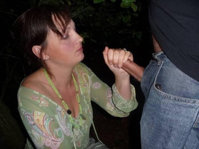 Giving hand job wife